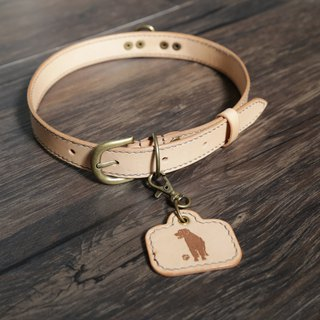 Arts and a small | customized vegetable tanned leather collar tag pet hair child