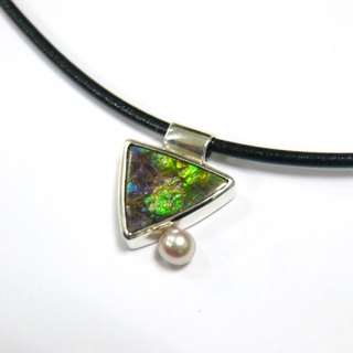 Canada Choi Ban stone Ammolite-925 sterling silver necklace package inserts - violet green triangle fall