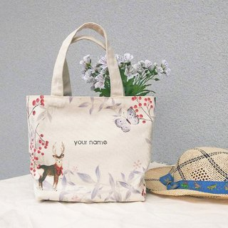 [Name] Xiaochun customized printing / small elk canvas / hand made bag - gift tote bag
