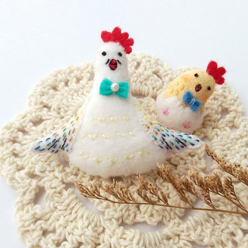 Parent chicken pin badge group