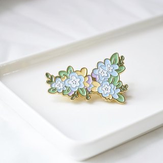 Blue powder butterfly pin