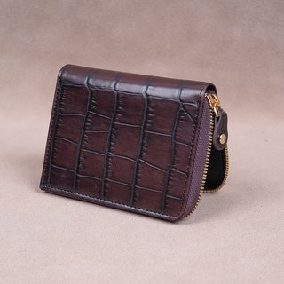 Zipper Wallet / Coin Wallet / Italy Cow Leather(Wine)