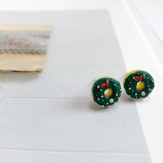 Japanese resin mini clay custom Christmas donut earrings