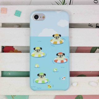 Swimming Pug Dog doggie matt finishes phone case for iPhone X 8 8 plus ip8 ip8+