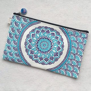Hand Painted Henna bag Mandala bag blue violet Pattern Zipper Pouch Coin Purse Cotton Cosmetic Bag Pencil Case Phone Wallet Hand Drawn Art