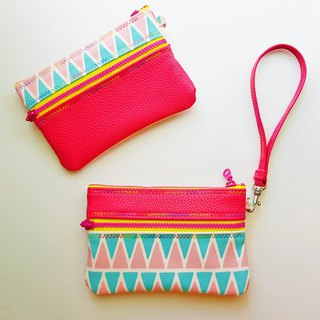 Double-sided design / inside and outside waterproof / cosmetic bag / ticket card / key / coin purse (with telescopic ring) - peach
