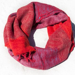 Christmas gift pure wool scarf / handmade knit scarf / woven scarf / pure wool scarf - red stripes