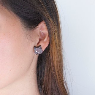 Cat wooden earring ( 925 sterling silver studs) one per