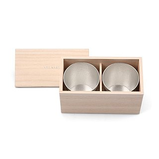 Pure tin hand cup wooden box set