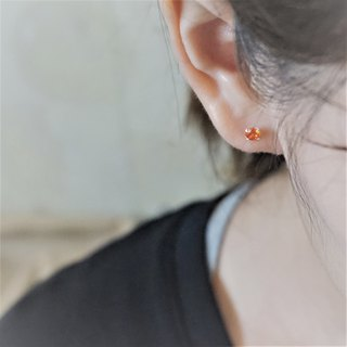 << modo zirconia earrings - orange red >> 925 sterling silver ear pins / pair (with 925 silver earrings)