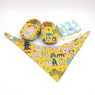 Painted puppy - Miyue baby gift box (toddler shoes / baby shoes / baby shoes + 2 handkerchief + scarf)