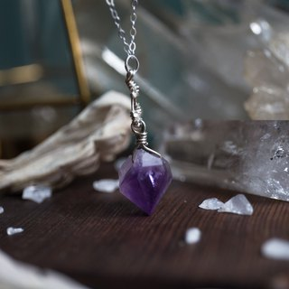 Back Amethyst 925 Sterling Silver Necklace Pendant
