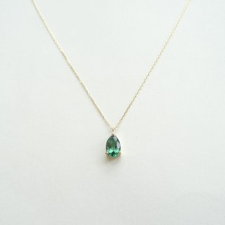 Natural Tourmaline 0.59 ct Teardrop Prong Set 18K Yellow Solid Gold Necklace