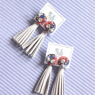 Hand-beaded Swarovski Crystal+Grey Leather Tassel Earrings /Ear-Clips