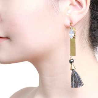 Statement Liu Tassel Earrings - Handmade in worn gold with stone