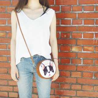 i bag hand-painted wind small round bag - A1. bow tie Boston dog - side backpack / cross-body bag / shoulder bag