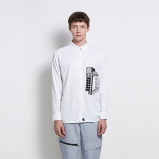 Small house - hut patch pocket Collagen shirt (white)