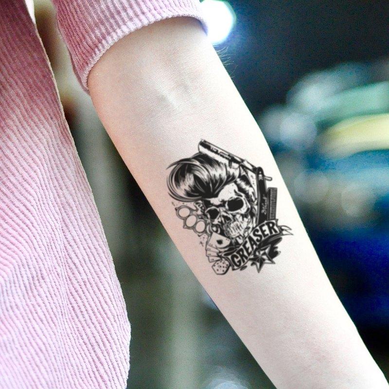 OhMyTat 油脂骷髏頭 Greaser 刺青圖案紋身貼紙 (2 張)