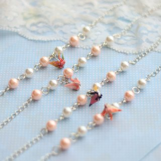 Sister bridesmaid wedding gift - pearl thousand feather crane bracelet
