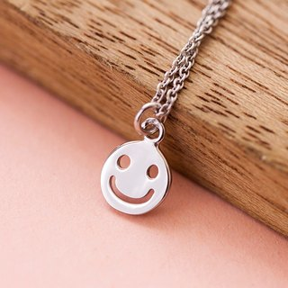Happy Emoticon Necklace in Brass with White Gold plating