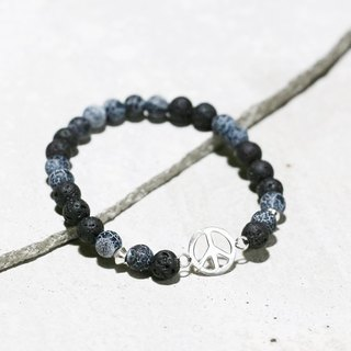 Cool Play Series - Hope Volcanic Rock x Black Weathered Agate 925 Sterling Silver Bracelet Exchange Gift Christmas