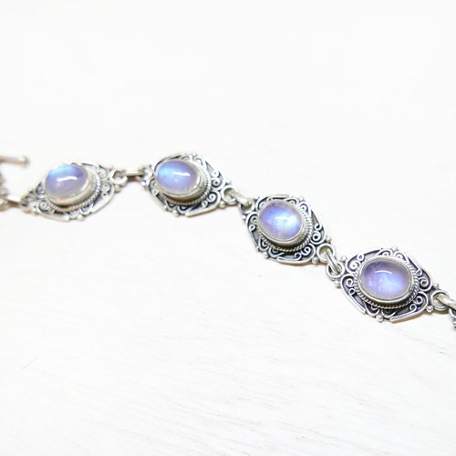 (Limited) moon flower b | moonlight handmade 925 sterling silver natural stone bracelet bracelet