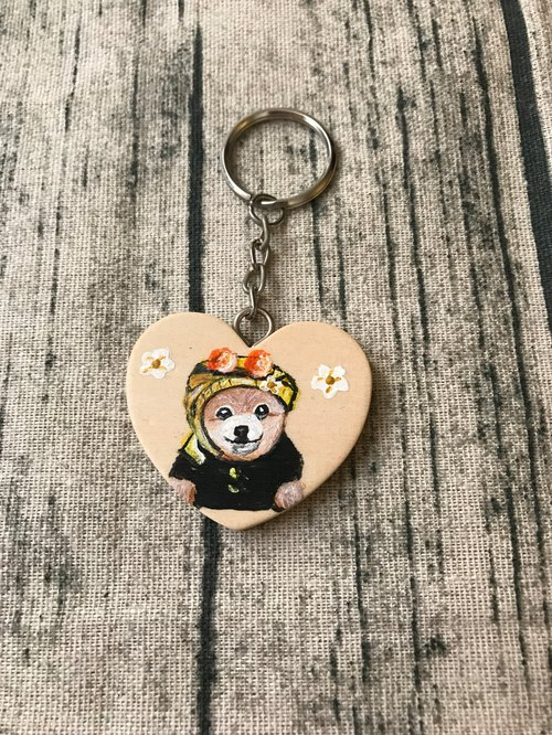 Hand-painted design hairy wooden key ring