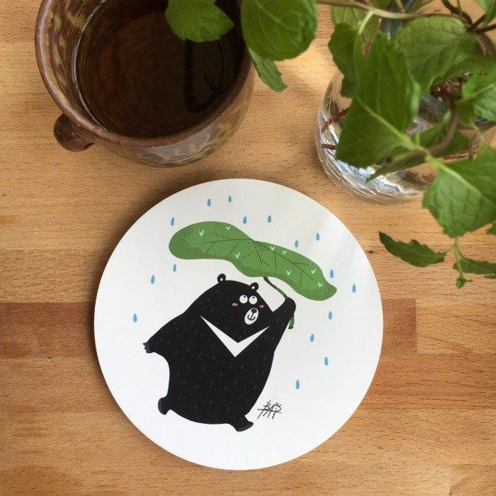 CHUMIO插畫家系列杯墊:黑熊嘿