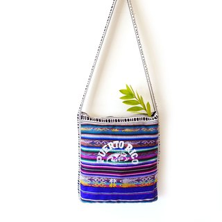 BajuTua / vintage / South American style Puerto Rico hand-woven purple color shoulder bag / cross-body bag