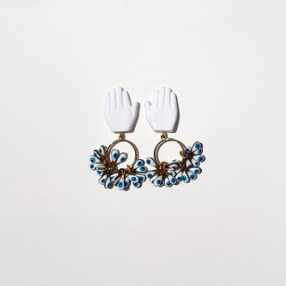 Hand and Ring Earrings in White.