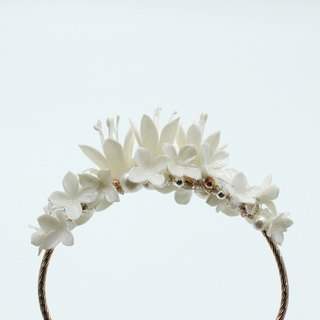 Pamycarie all handmade resin clay flower pearl bracelet wedding