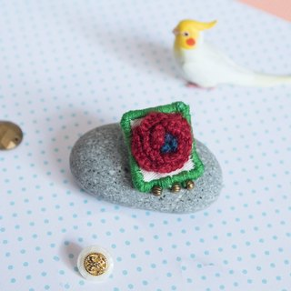 3D Embroidery Wool Flower Brooch - Red - All handmade