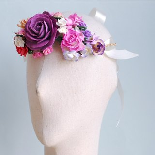Paper Flower, Headband, Wedding, Big roses and small floral tiara in purple, pink, peach brush and maroon Color.