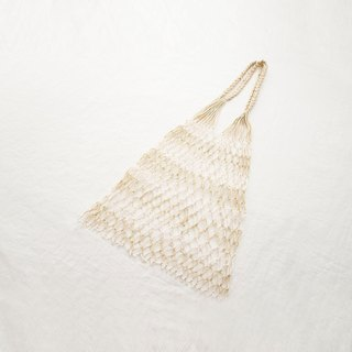 Hand-woven fish net bag (gold and white color)