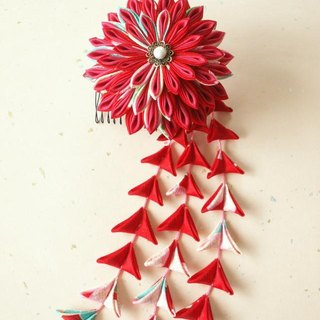 ♪ perfect to knob crafted hair ornaments of sword knob made from old cloth <red> coming-of-age ceremony