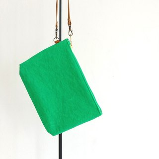 Kurashiki canvas clutch bag Paradise green