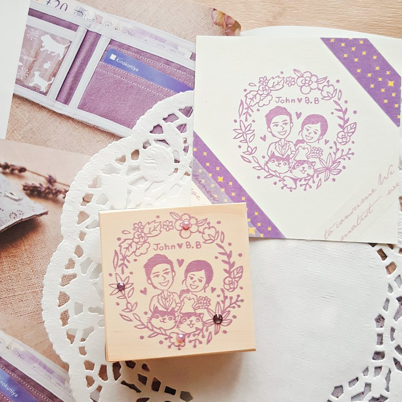Handmade Rubber Stamp-Our Secret Garden Wedding Stamp 6X6cm