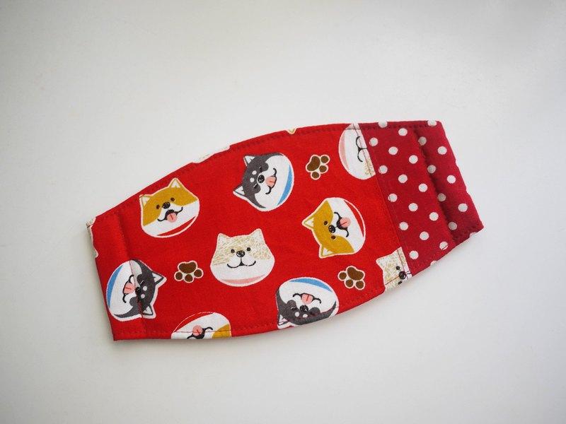 手作訂製=日常必備小物=手作口罩=微笑柴犬=紅+點點