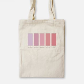 Rouge button - painted canvas bag