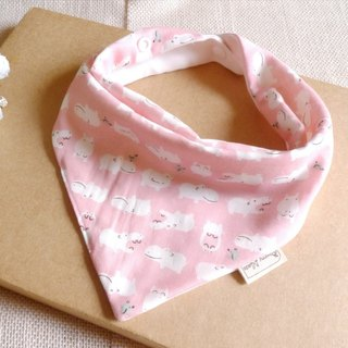 Triangular mouth scarf - small hippo (powder)