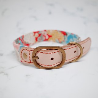 Dog L wide 2.5 cm dog collar (without tag) Peony spring flowers planted leather Japanese cloth rope