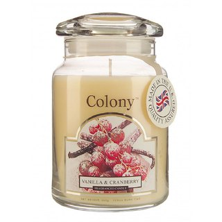 British Candle Colony Vanilla Cranberry Glass Canned Candles