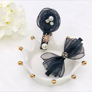 Elegant Organza Flower Hair Clip with Ribbon Bow Hair Clip Set
