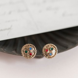 Button Advanced Customized Earrings - Shield of Colored Diamonds