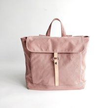 abfcd18f125d canvas leather backpack  rucksack school backpack - TANYA in Pale Pink  (no.102