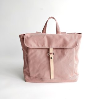 canvas leather school  backpack / rucksack Handm - TANYA in Pale Pink (no.102)