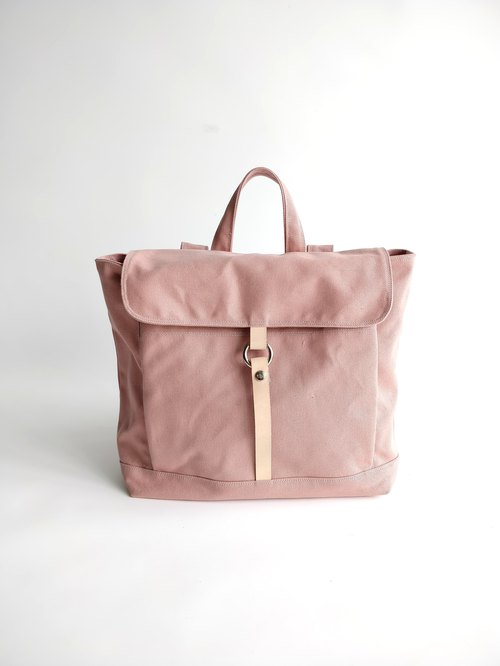 Handmade - no.102-TANYA in Pale Pink ,canvas leather school  backpack / rucksack