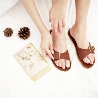 Nubuck leather Buckle Sandal Chocolate / AB003