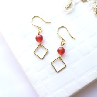 Red treasure -Red agate brass handmade earrings