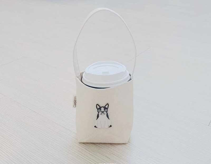 環保收納袋 飲料 咖啡 手提袋 刺繡狗狗款